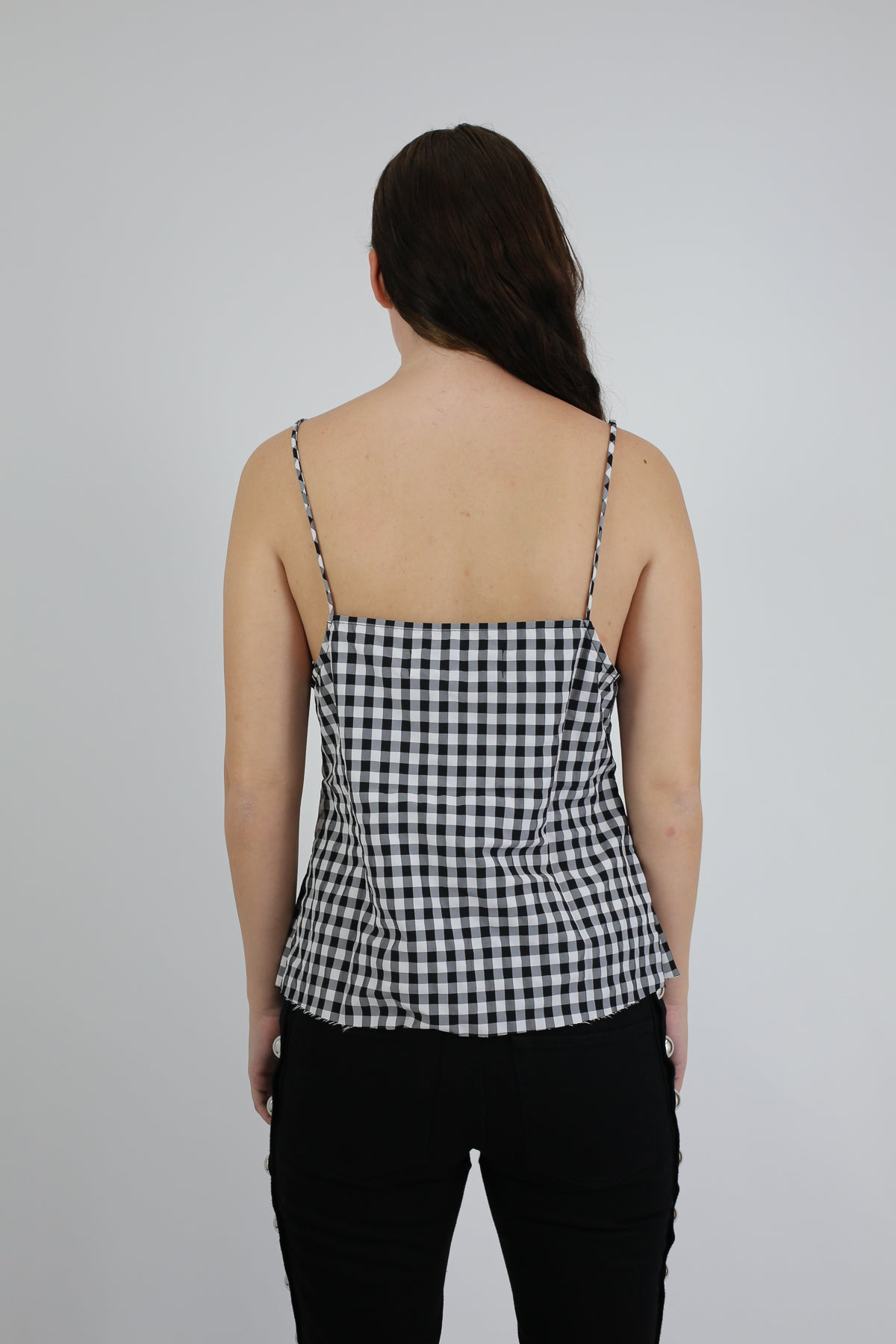 PRE-OWNED / BLACK & WHITE GINGHAM SLIP TOP - marques-almeida-dev