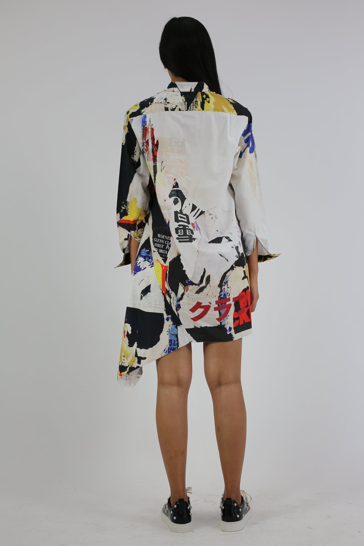 PRE-OWNED / POSTER PRINT ASYMMETRIC SHIRT DRESS - marques-almeida-dev