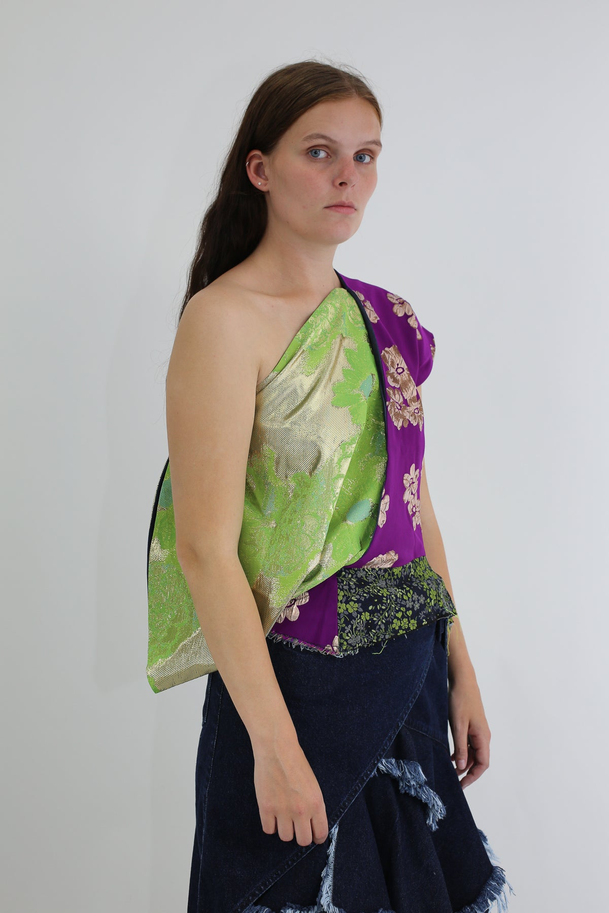 PRE-OWNED / BROCADE PATCHWORK ONE SHOULDER TOP