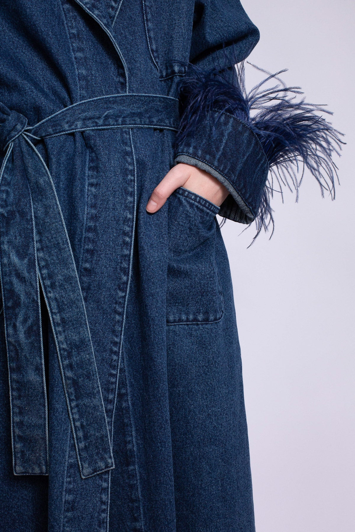 DRESSING GOWN STYLE COAT IN BLUE DENIM - marques-almeida-dev