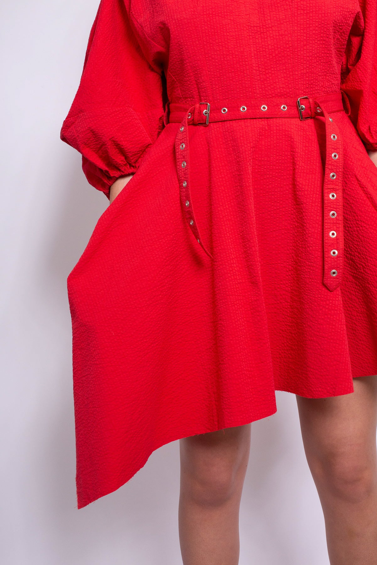 BALLOON SLEEVE DRESS IN RED - marques-almeida