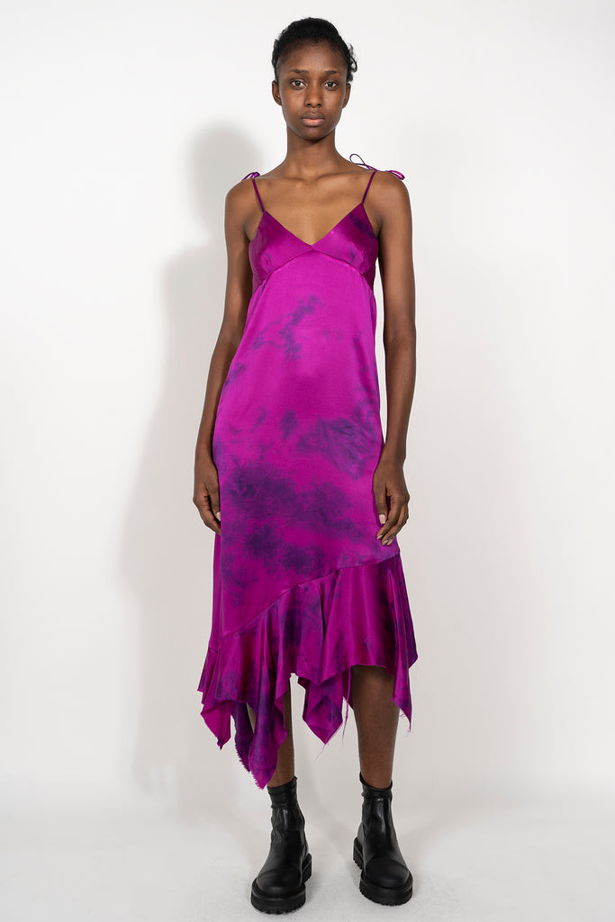 marques almeida SILK PINK TIE DYE DRESS