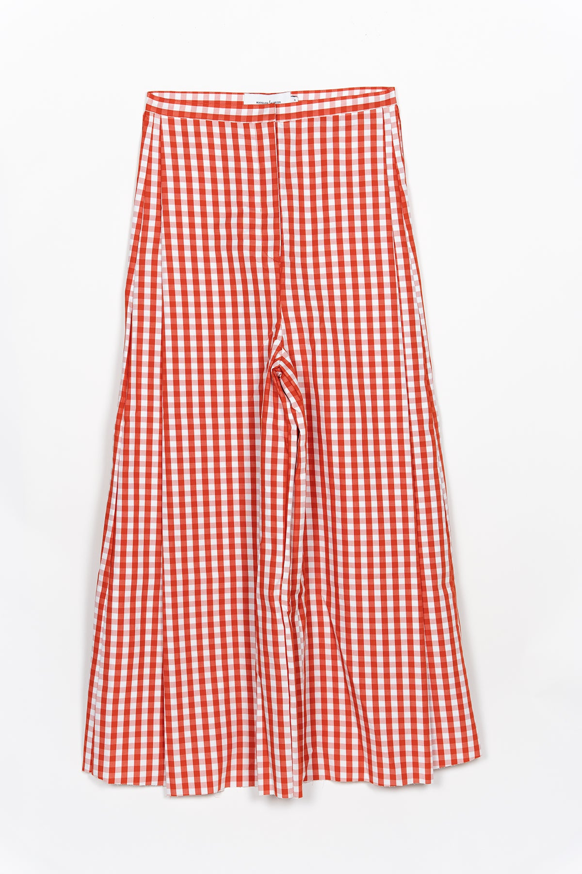 ORANGE GINGHAM WIDE LEG TROUSER
