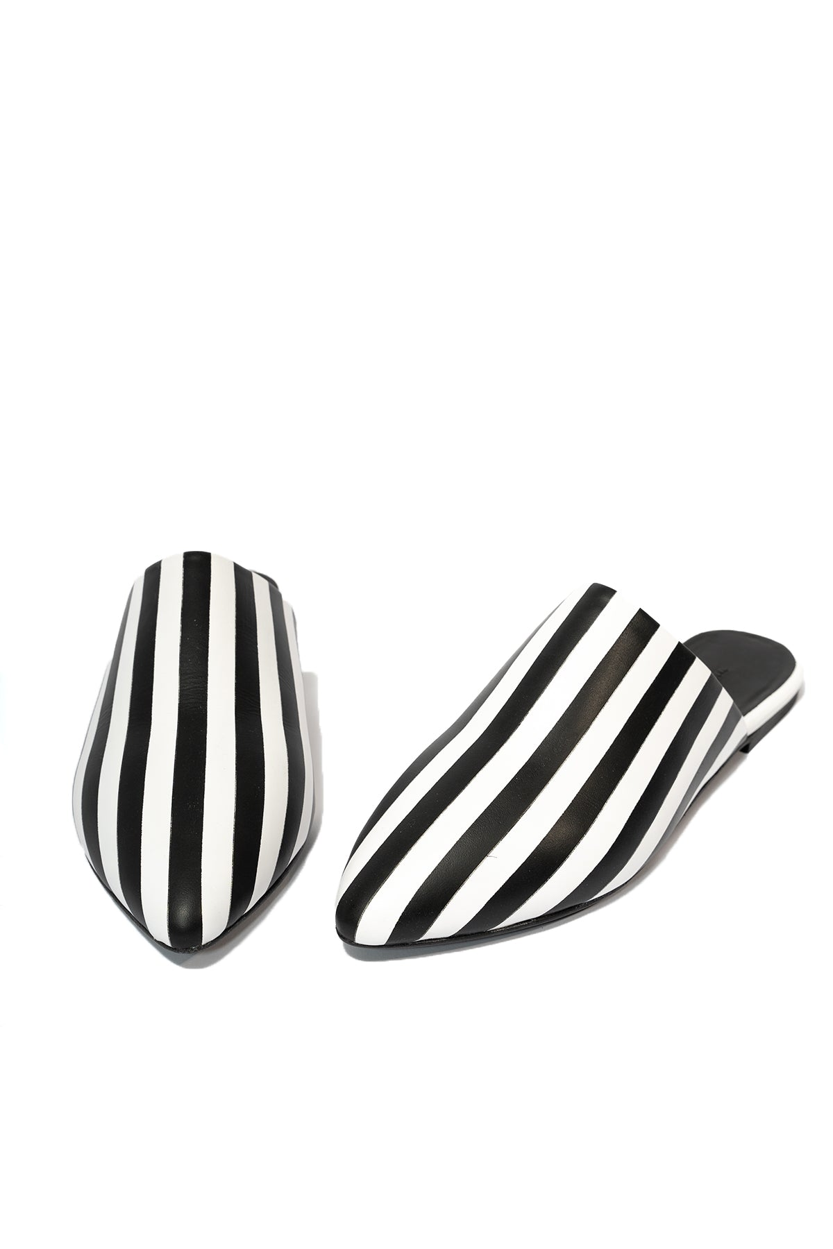 STRIPE LEATHER FLAT POINTY MULE MARQUES ALMEIDA