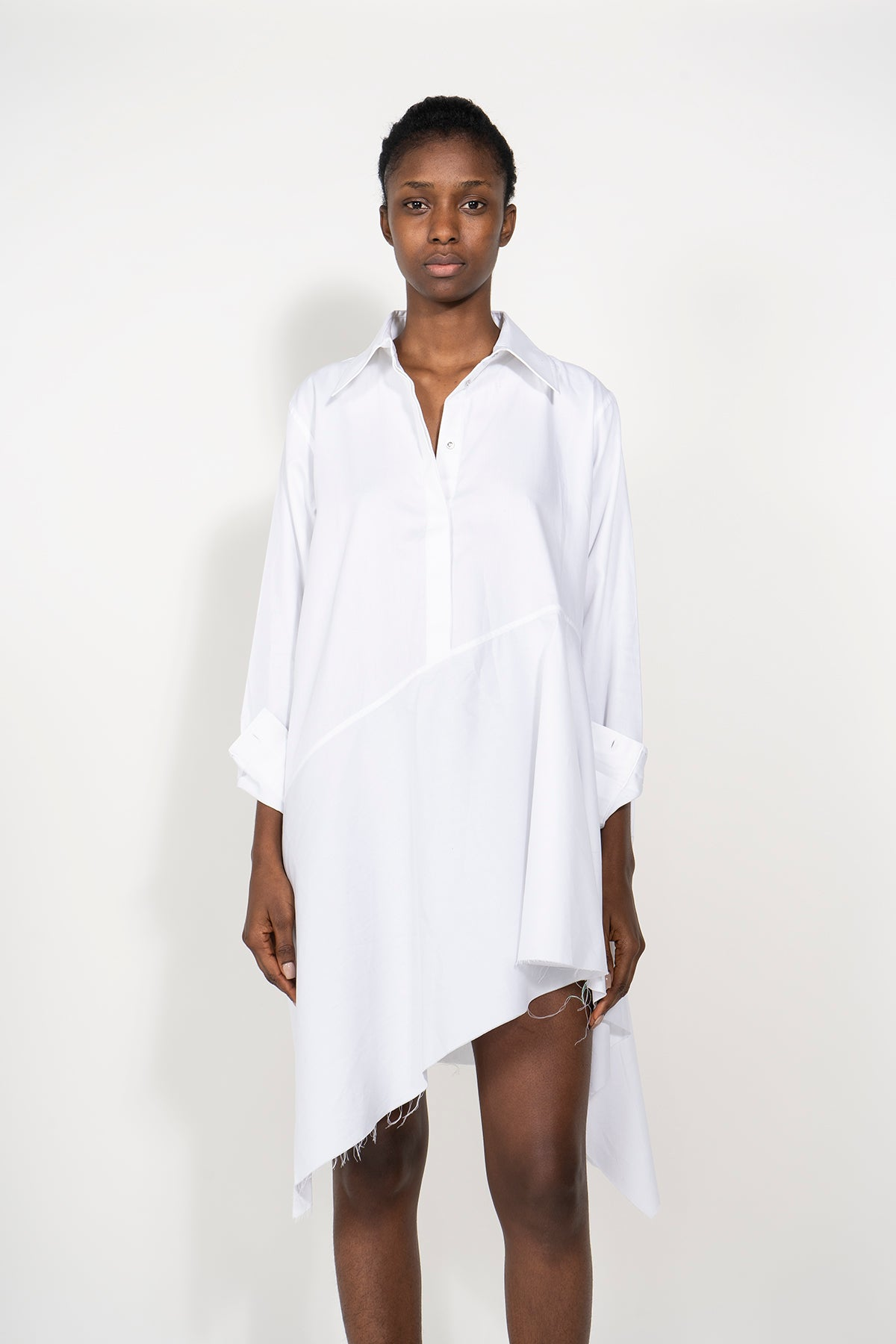 marques-almeida PRE-OWNED / COTTON ASYMMETRIC SHIRT DRESS