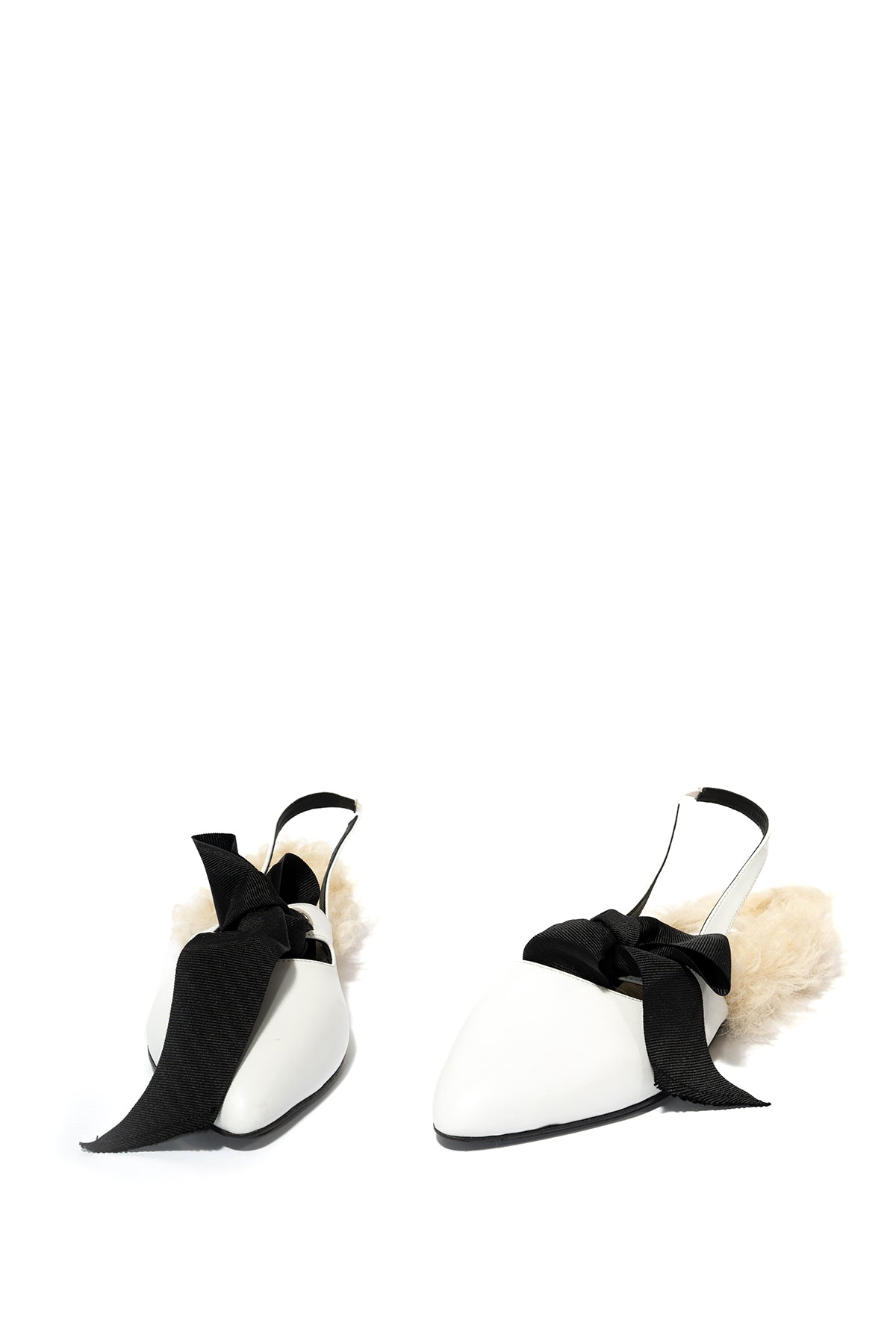 marques almeida FUR LINED BOW SLINGBACKS