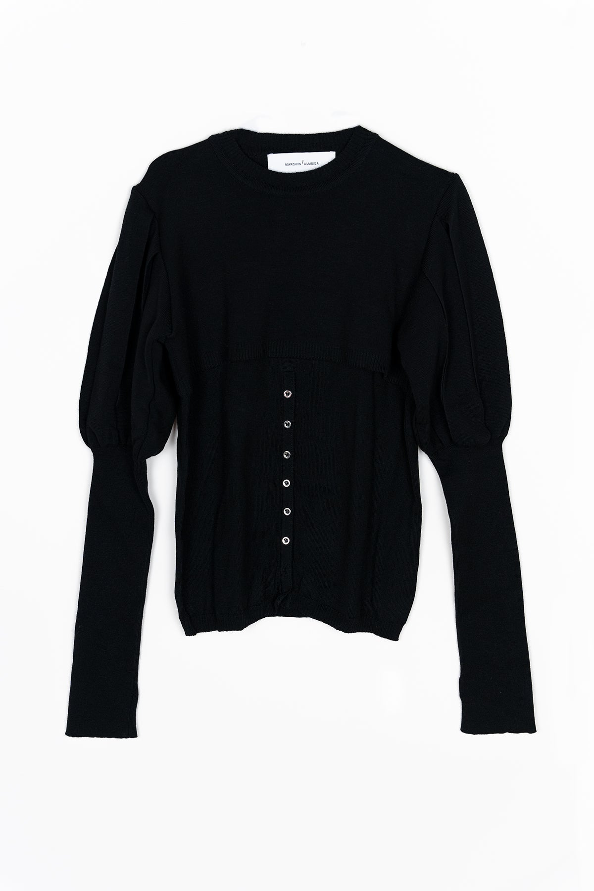 BLACK KNIT TOP W/ PUFF SLEEVES