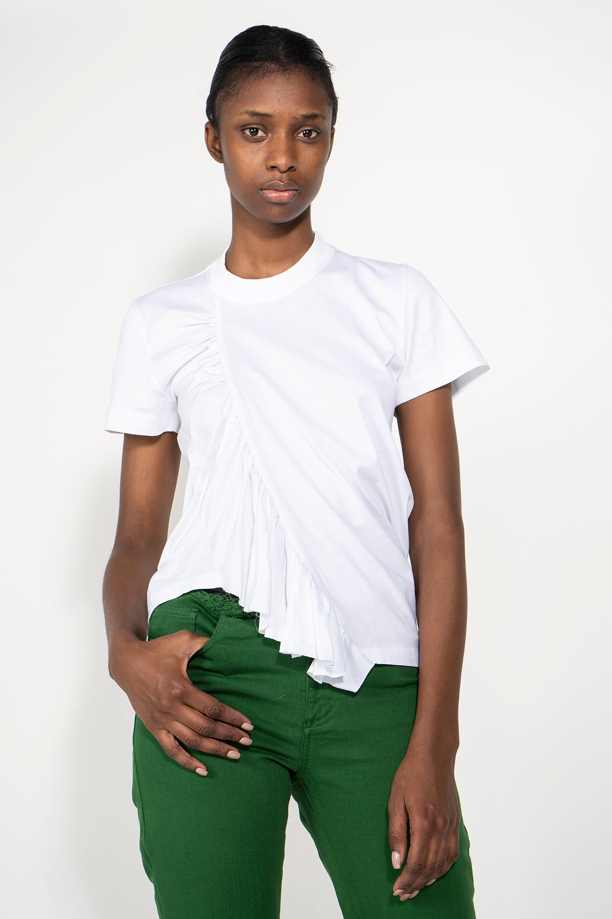 GATHERED T-SHIRT IN WHITE - marques-almeida-dev