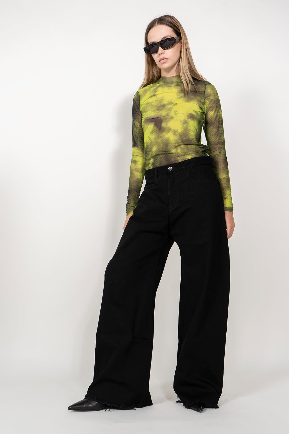 LONG SLEEVE TOP IN MESH LIME TIE DYE MARQUES ALMEIDA