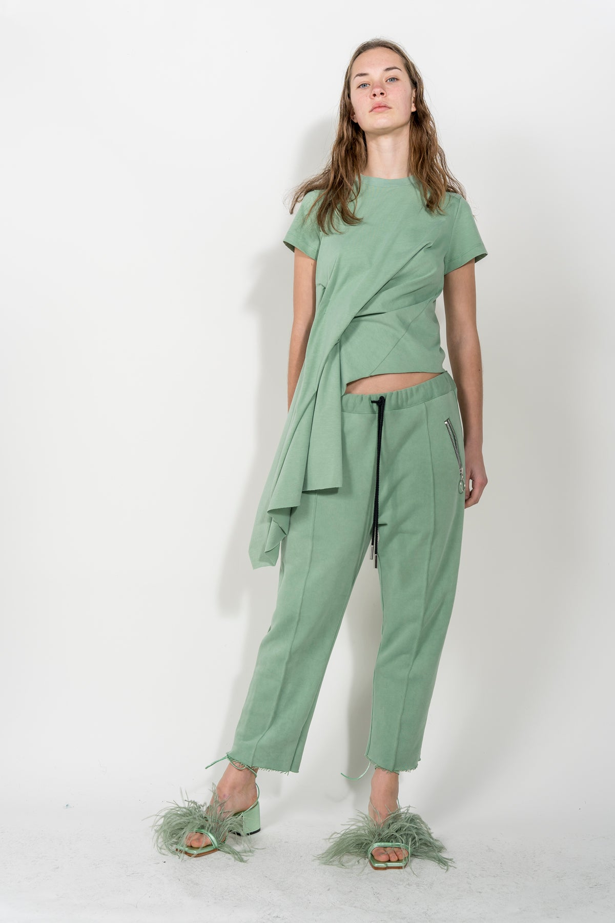 BABY GREEN DRAPED CAP SLEEVE T-SHIRT MARQUES ALMEIDA