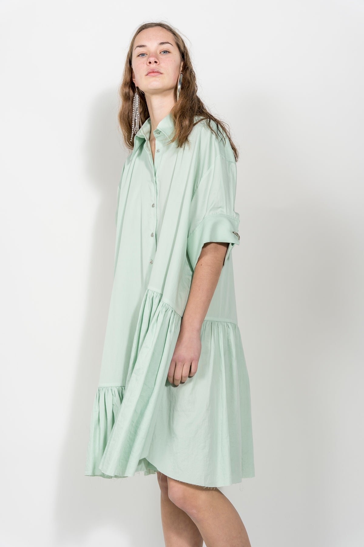 XXL SHORT SLEEVE SHIRT DRESS IN BABY GREEN marques almeida
