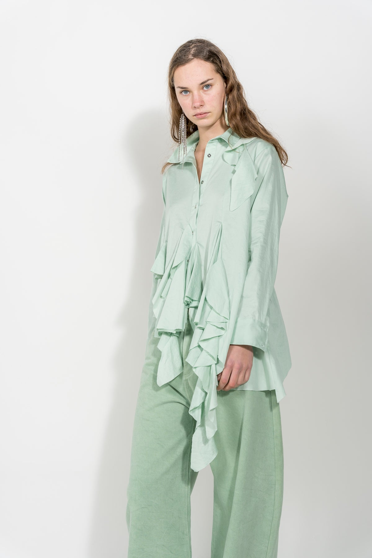 BABY GREEN GODET SHIRT MARQUES ALMEIDA