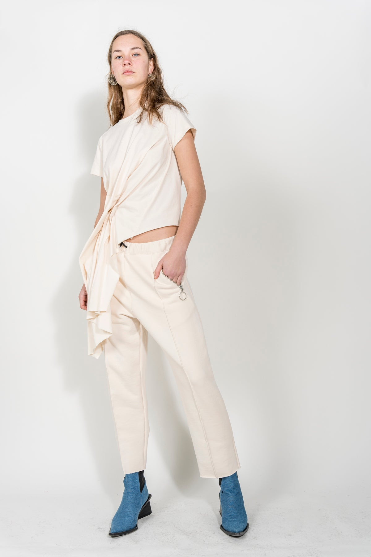 BEIGE DRAPED CAP SLEEVE T-SHIRT marques almeida