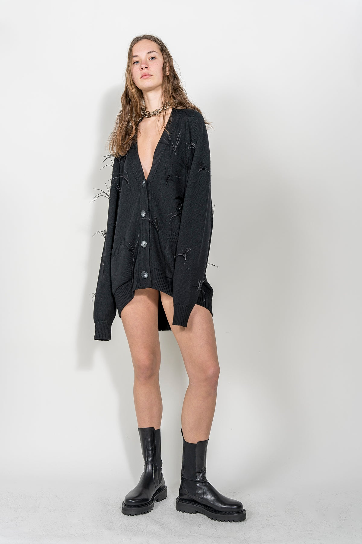 BLACK OVERSIZED CARDIGAN WITH FEATHERS marques almeida.