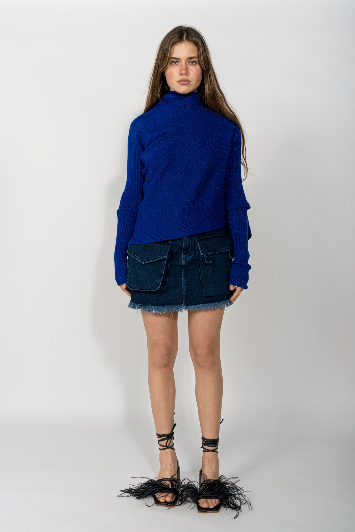 BLUE LUREX DRAPED JUMPER