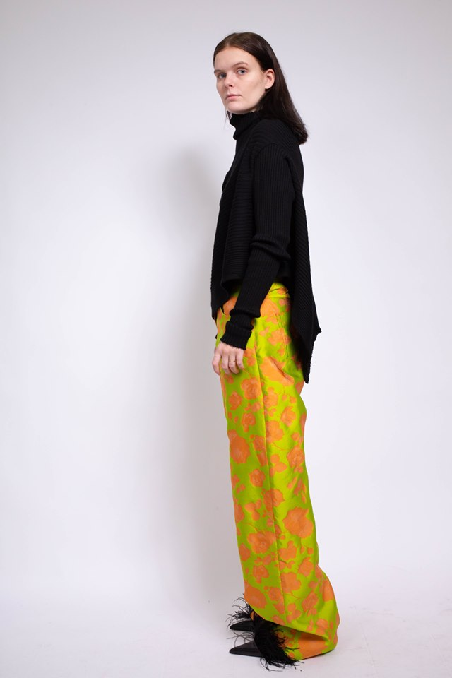 BROCADE BOYFRIEND TROUSERS IN LIME & ORANGE