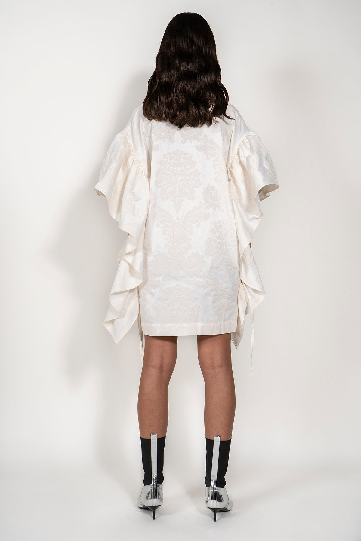 BROCADE OVERSIZED T-SHIRT DRESS WITH SLEEVE FRILLS