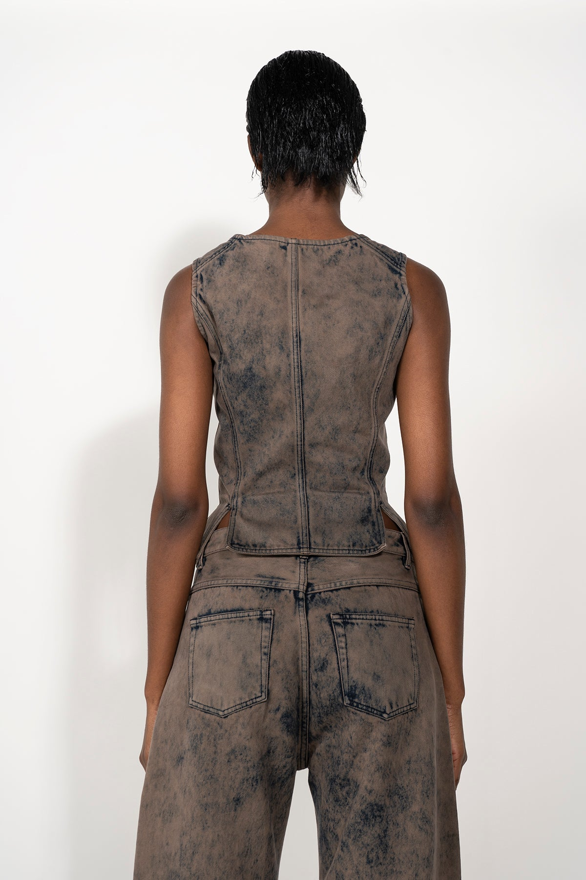 DENIM CORSET IN ACID KHAKI