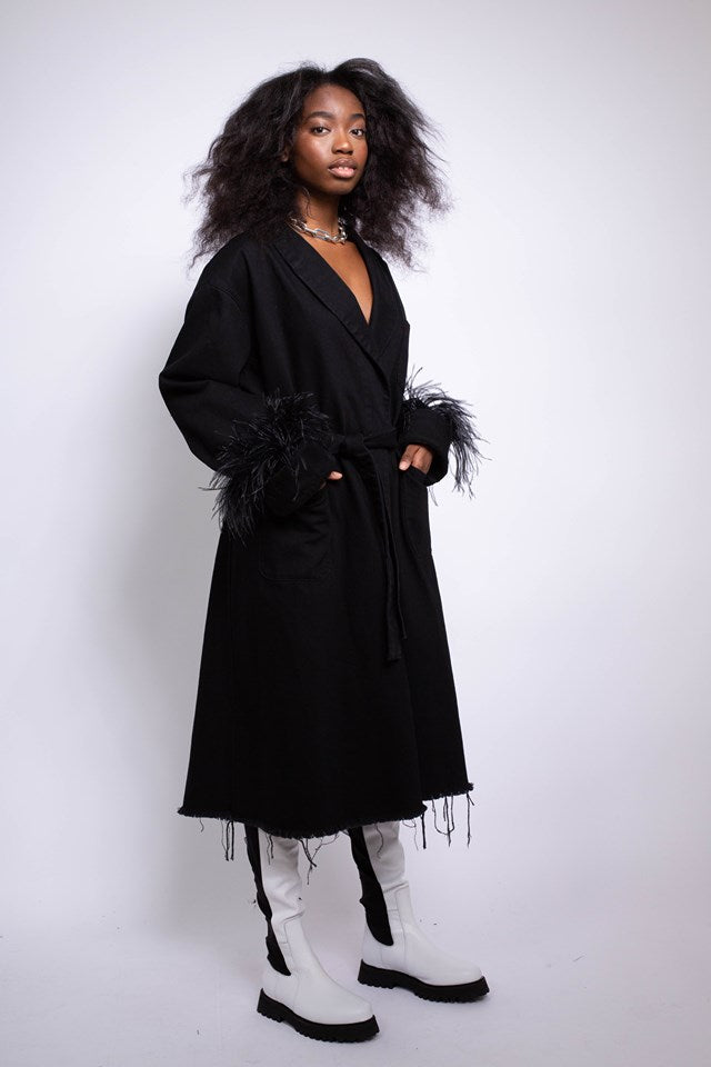 DRESSING GOWN STYLE COAT IN BLACK DENIM - marques-almeida-dev