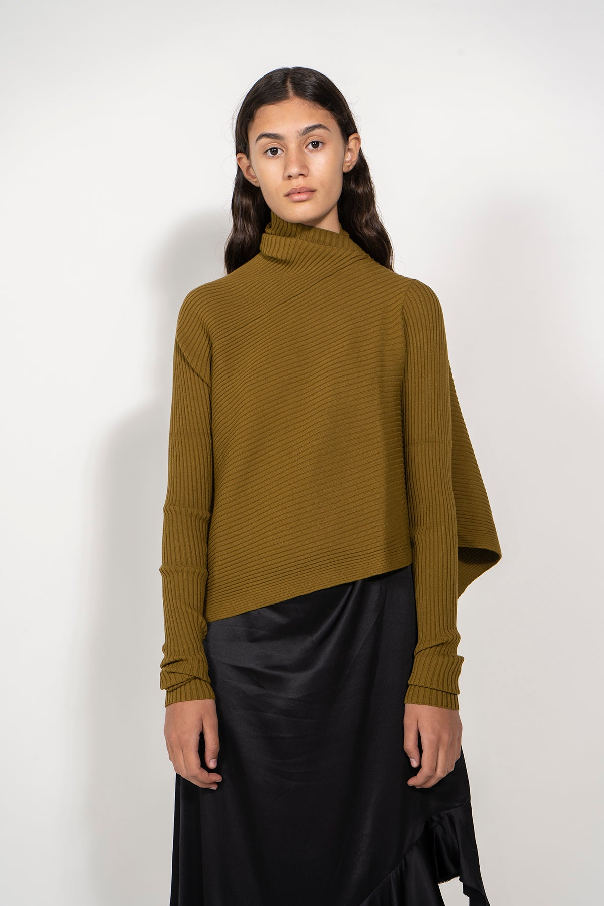 DRAPED JUMPER IN KHAKI