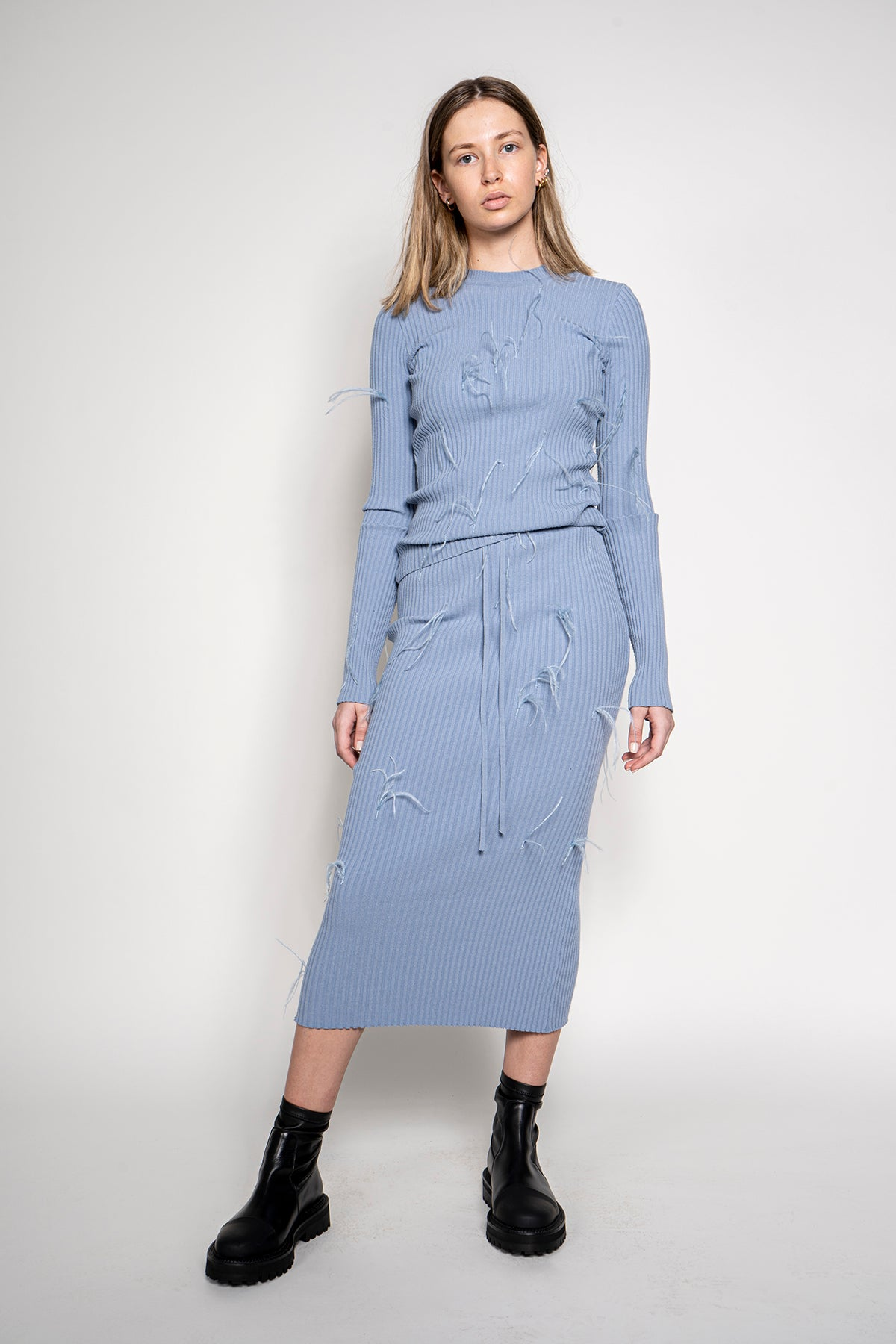 FITTED LONG SKIRT IN BABY BLUE