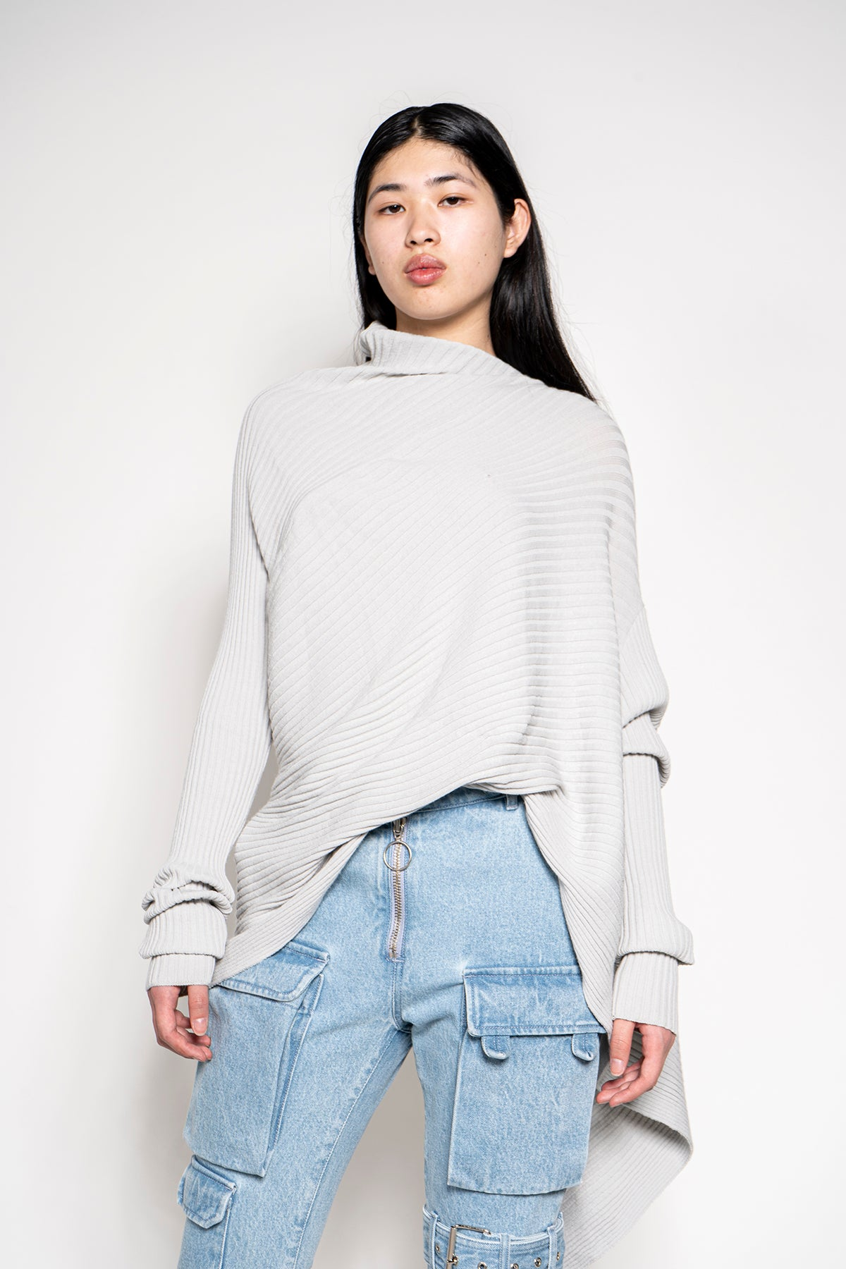 MARQUES ALMEIDA DRAPED JUMPER IN GREY