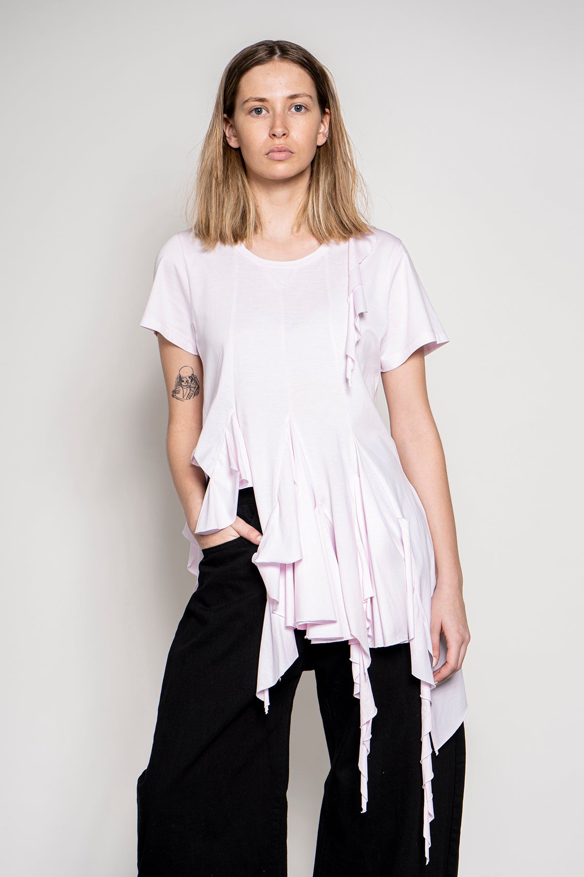 MARQUES ALMEIDA CAP SLEEVE T-SHIRT WITH GODETS