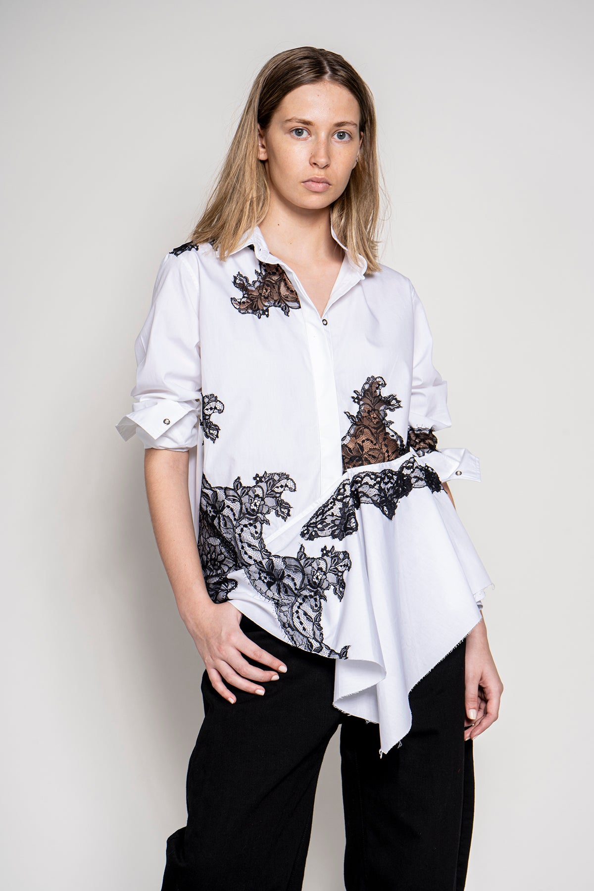MARQUES ALMEIDA LACE INSERT SHIRT