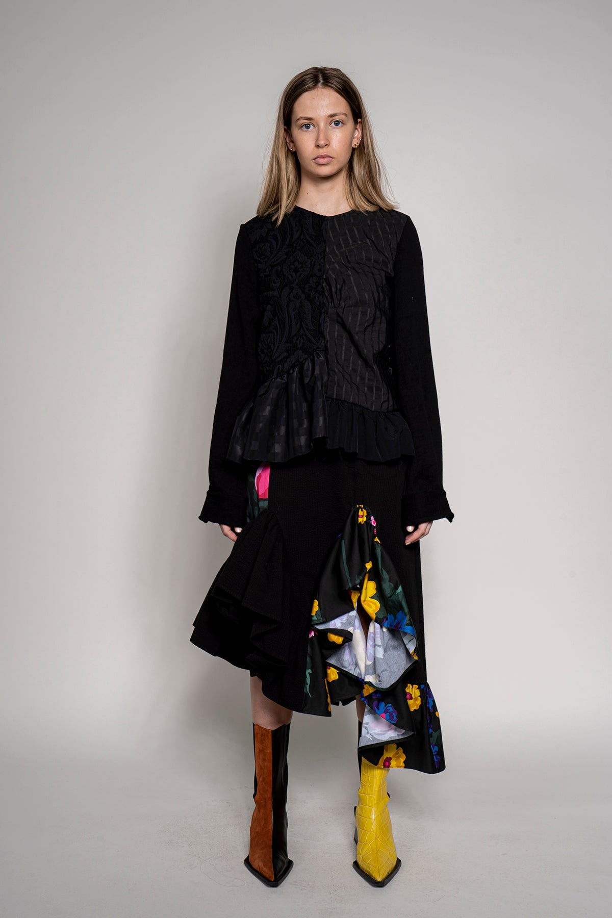 MARQUES ALMEIDA PATCHWORK FRILL SKIRT