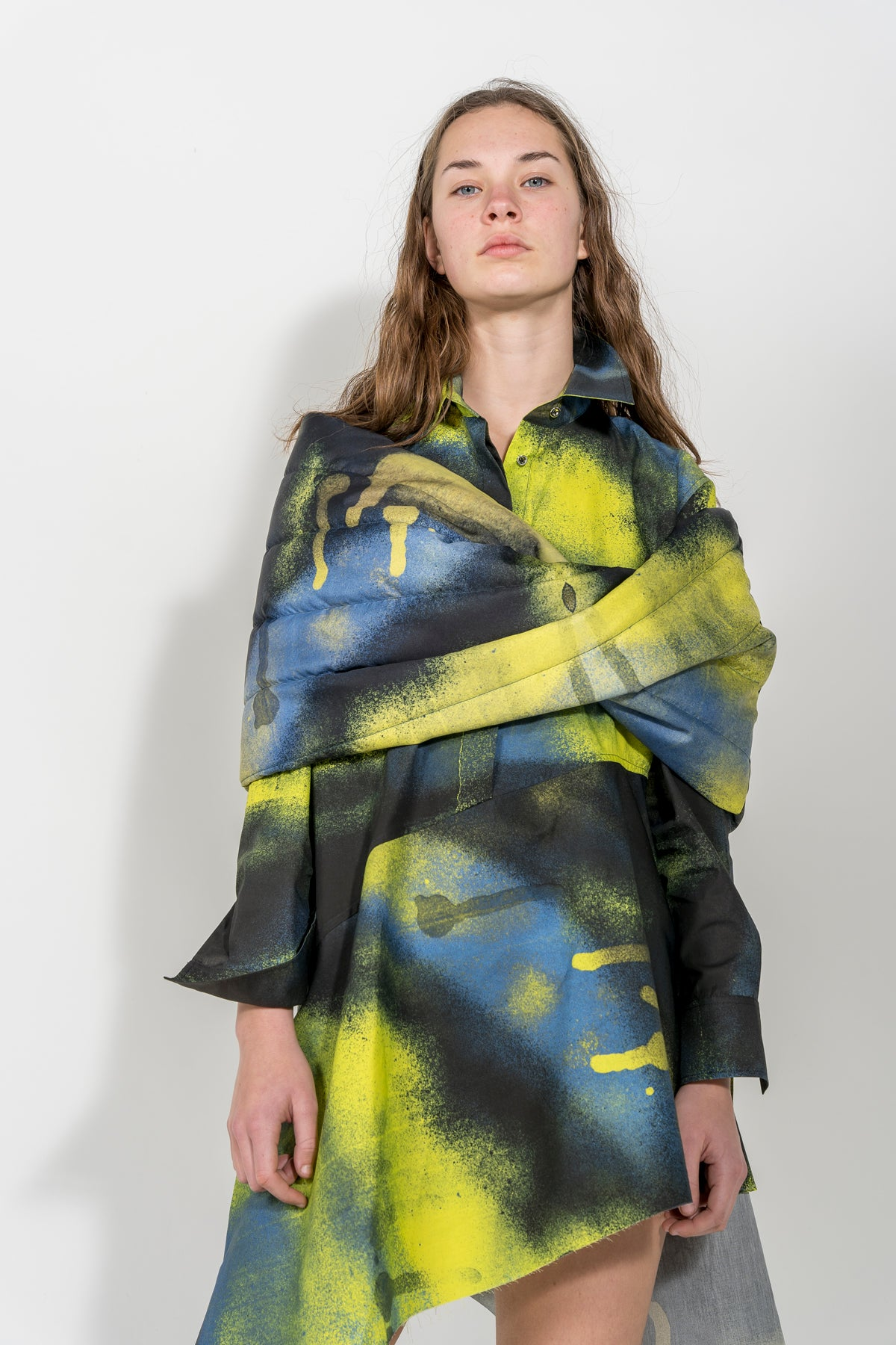 YELLOW/BLACK PADDED SCARF marques almeida