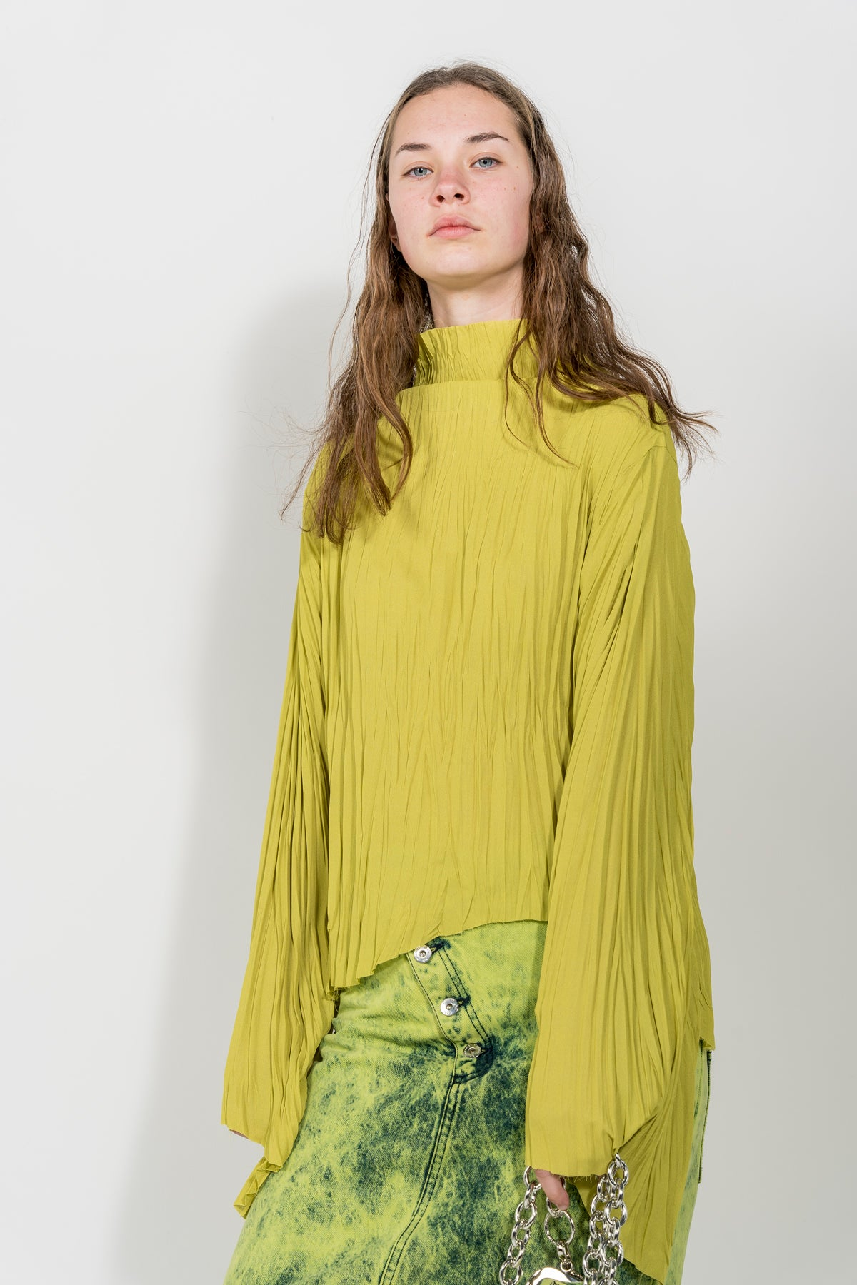 LIME LONG SLEEVE PLISSE TOP