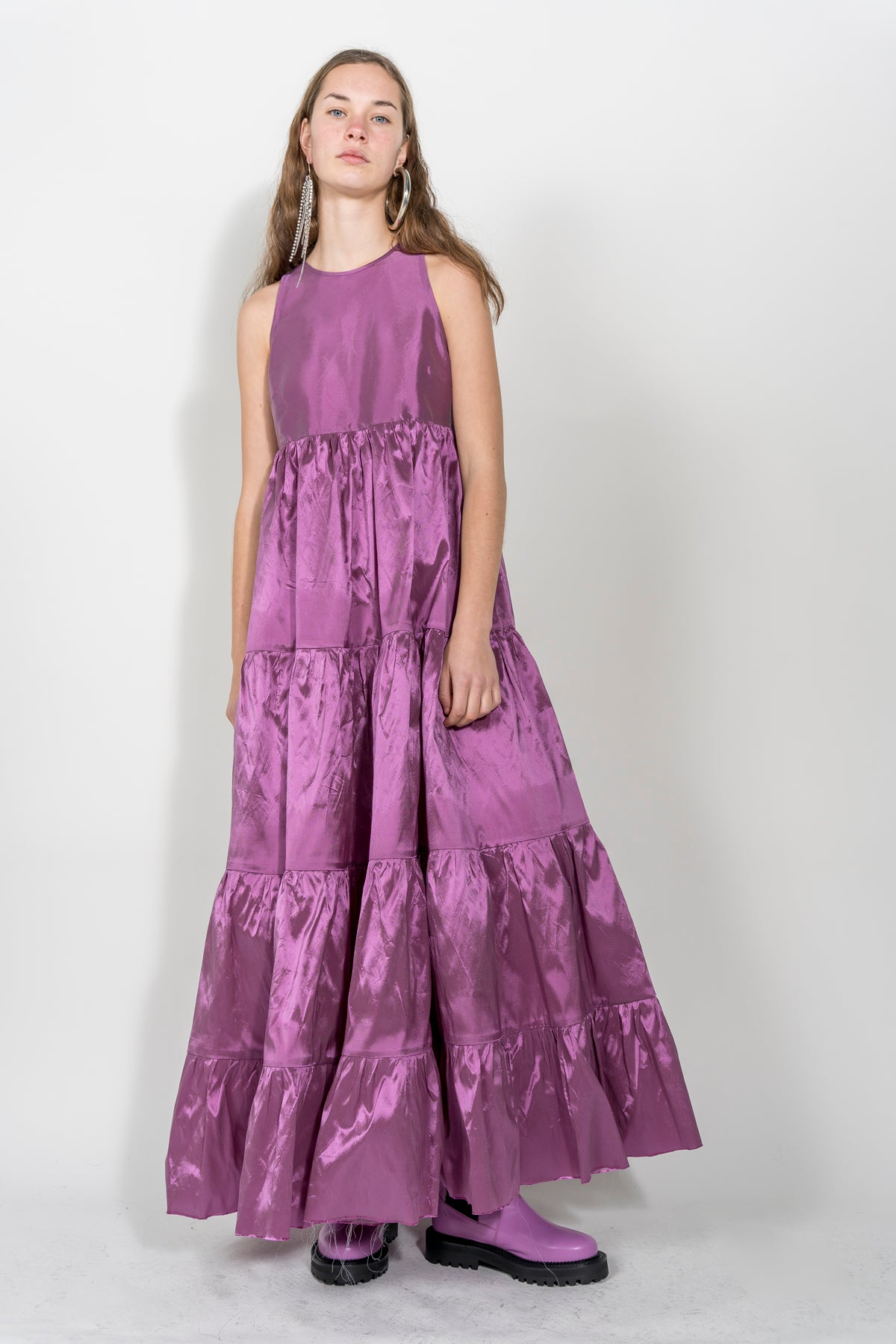 LILAC FLOOR LENGHT GATHERED PANEL DRESS