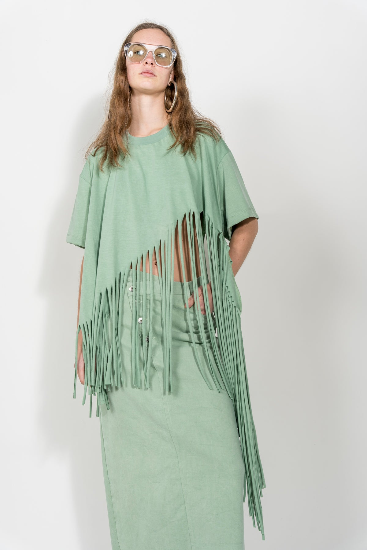 BABY GREEN T-SHIRT WITH FRINGE HEM