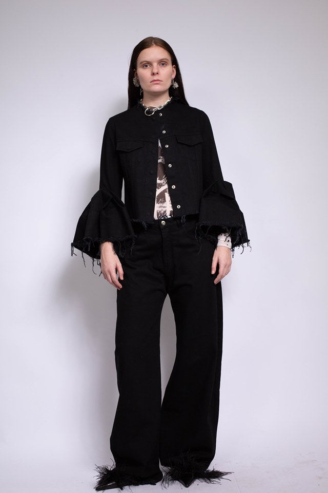BLACK DENIM CLASSIC FITTED JACKET WITH BELL SLEEVES - marques-almeida-dev