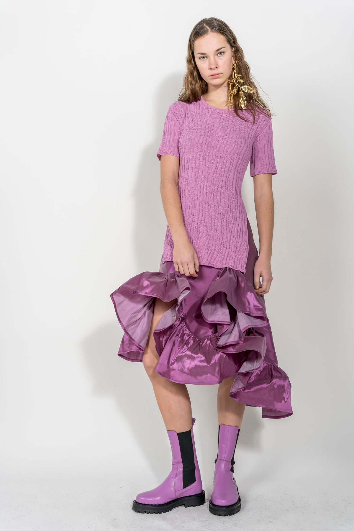 LILAC MELTED FRILL SKIRT