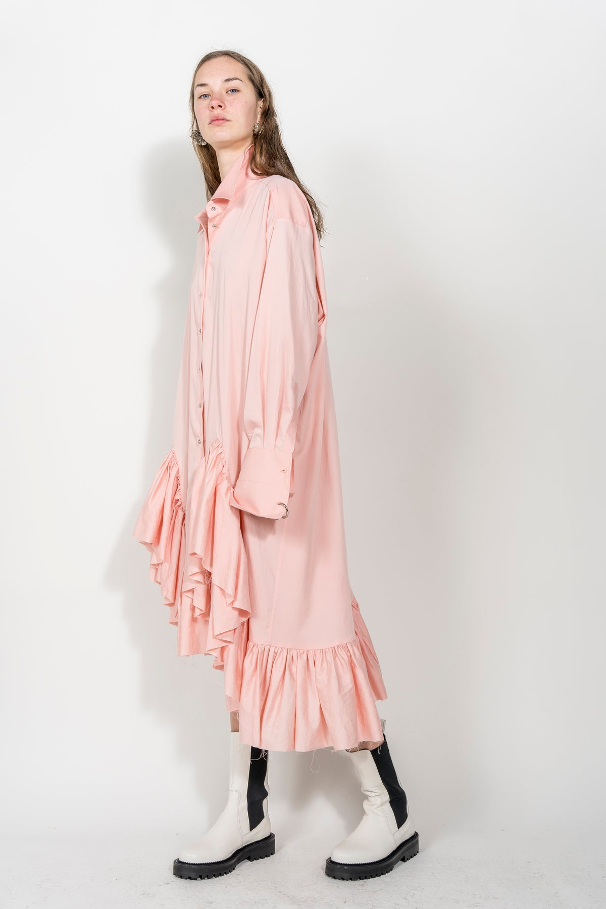 PINK LONG FLOUNCE SHIRT DRESS MARQUES ALMEIDA