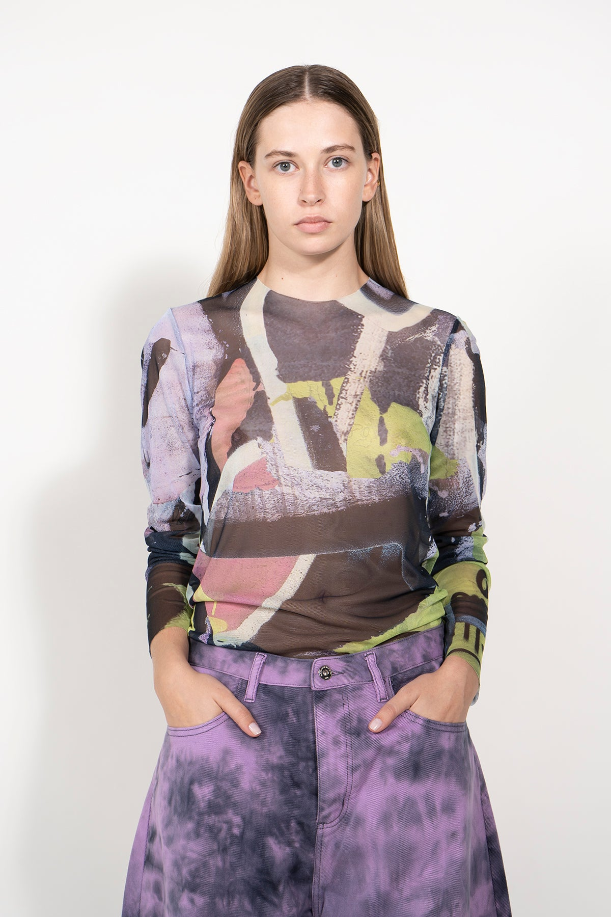 LONG SLEEVE MESH TOP IN GRAFFITI PASTEL PRINT