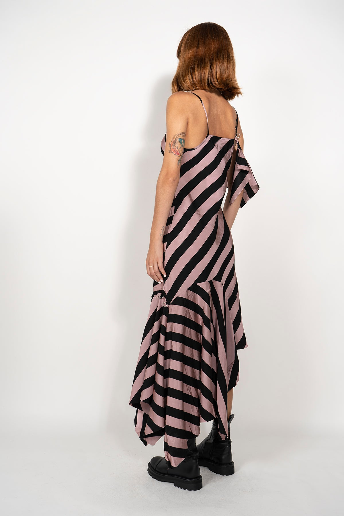 PRE-OWNED / ASYMMETRIC FRILL DRESS IN PINK & BLACK