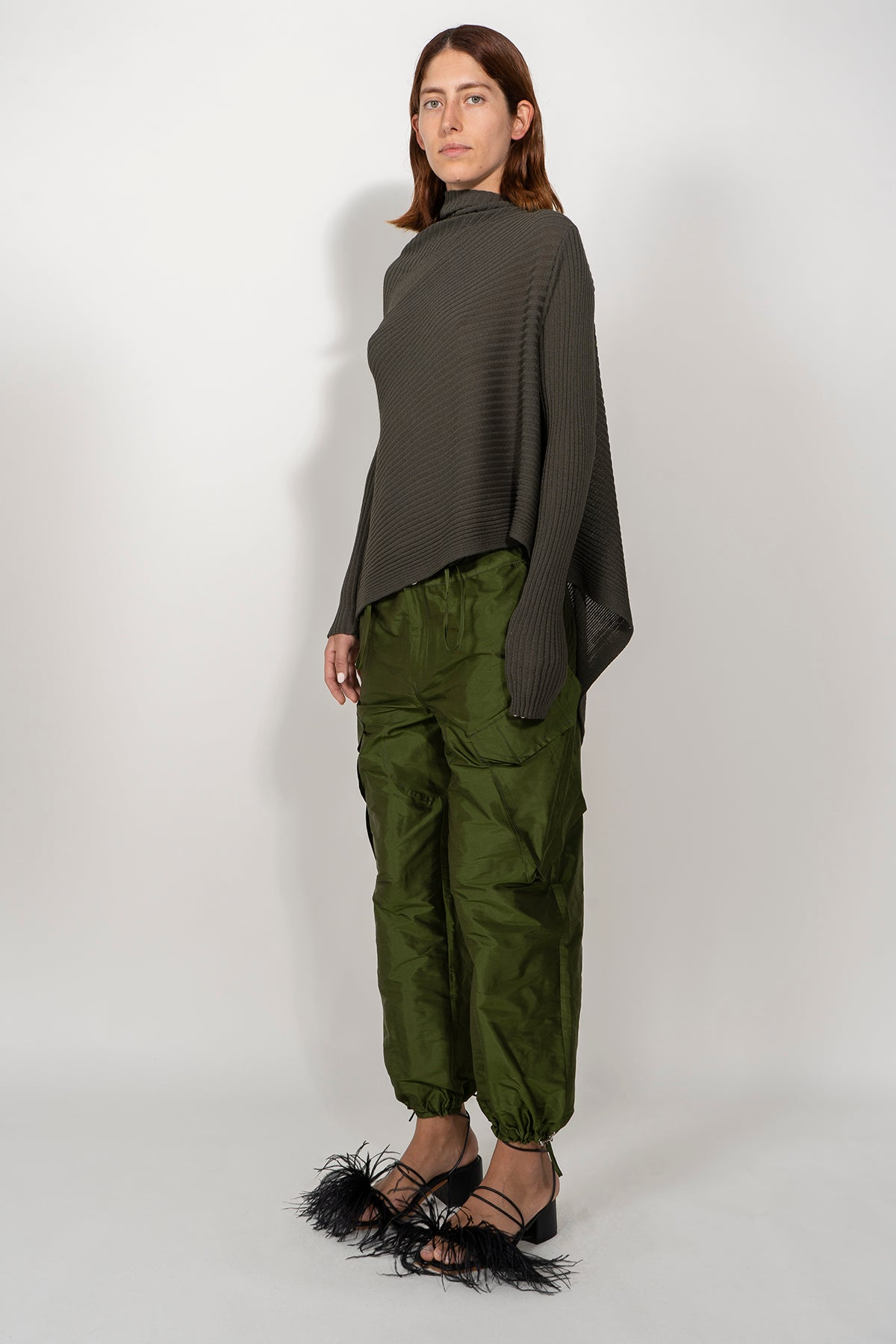 KHAKI DRAPED JUMPER