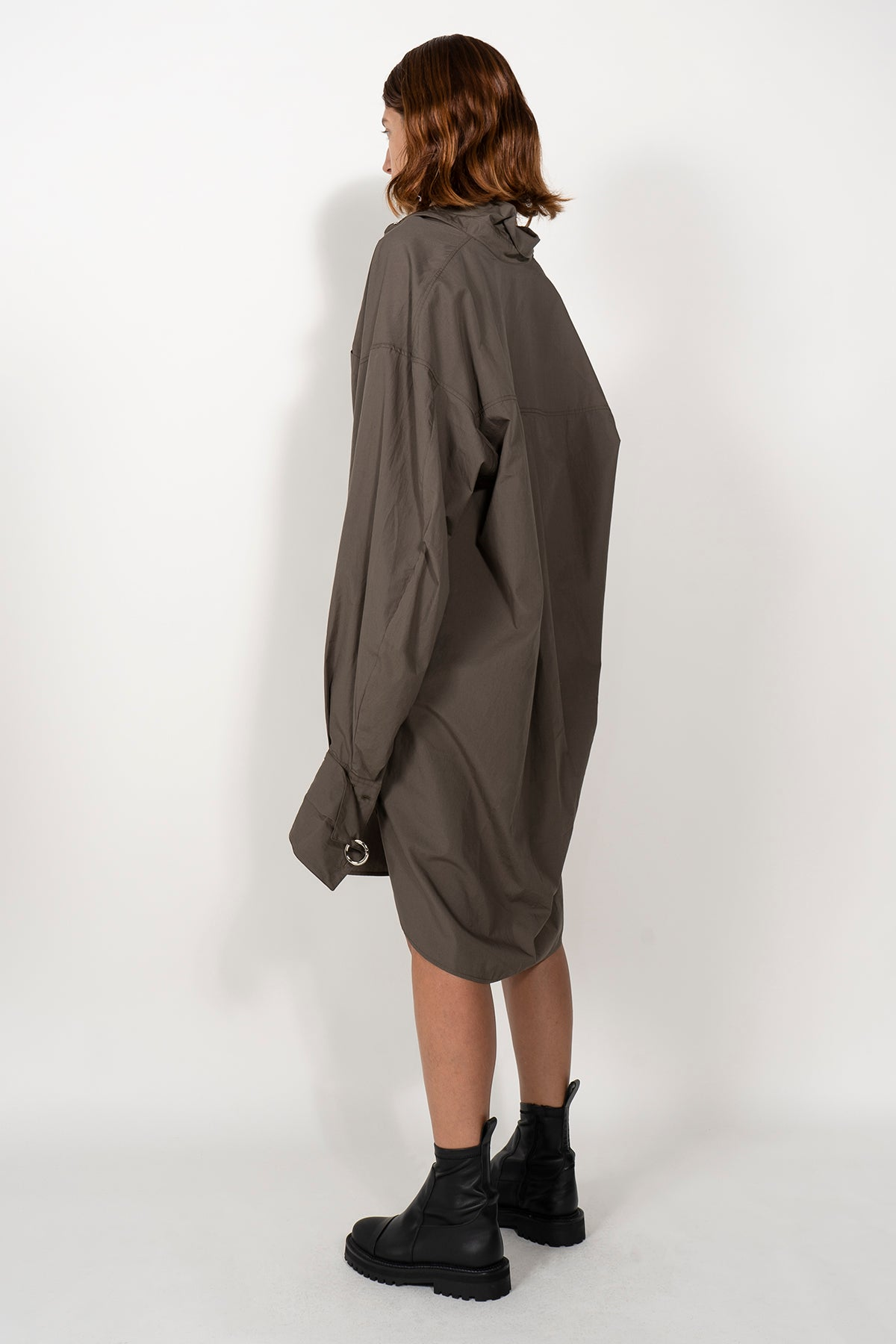 LONG SHIRT DRESS WITH DETACHABLE CUFFS