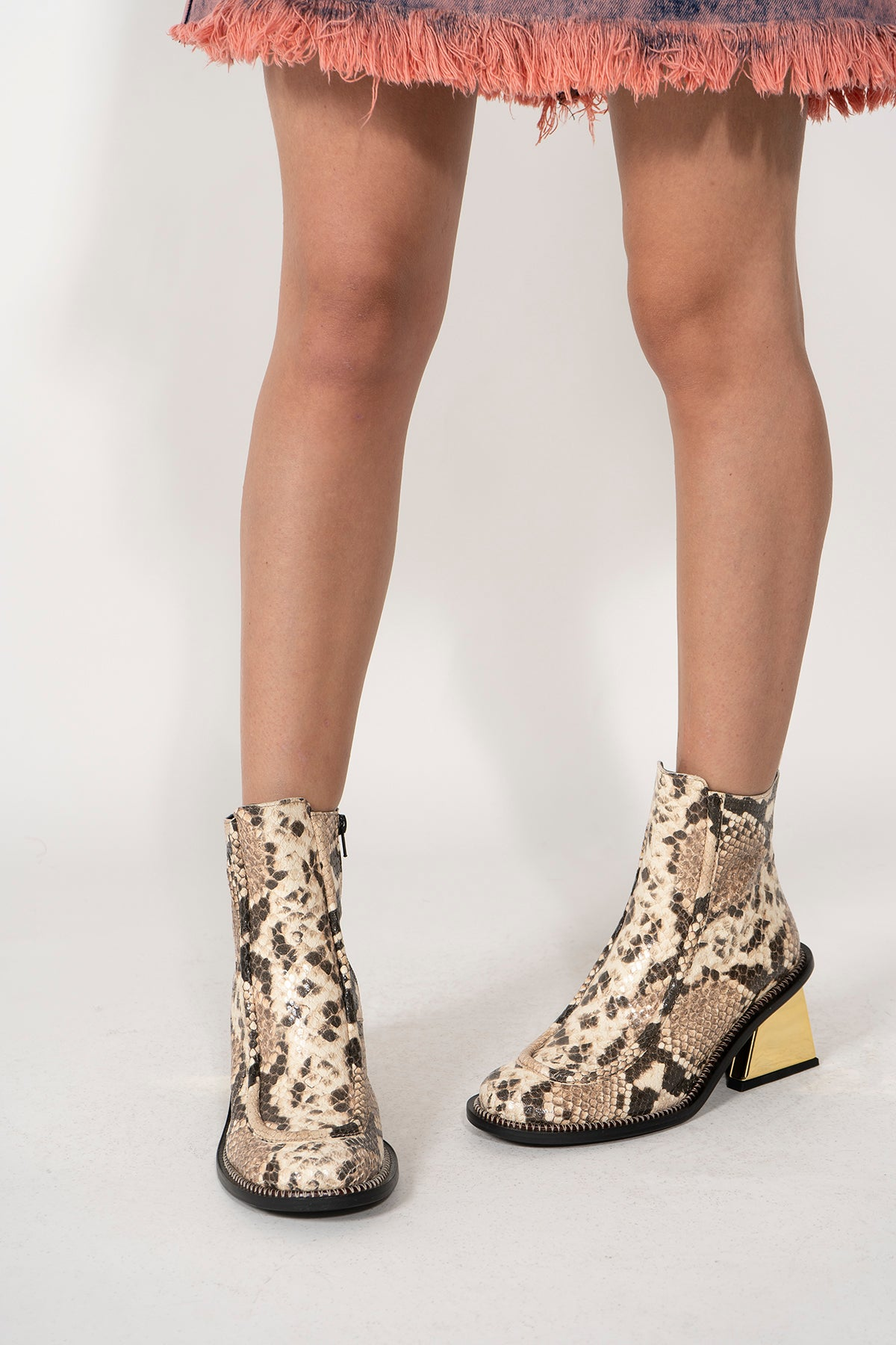 GOLD M'A HEEL SNAKE BOOTS IN BROWN