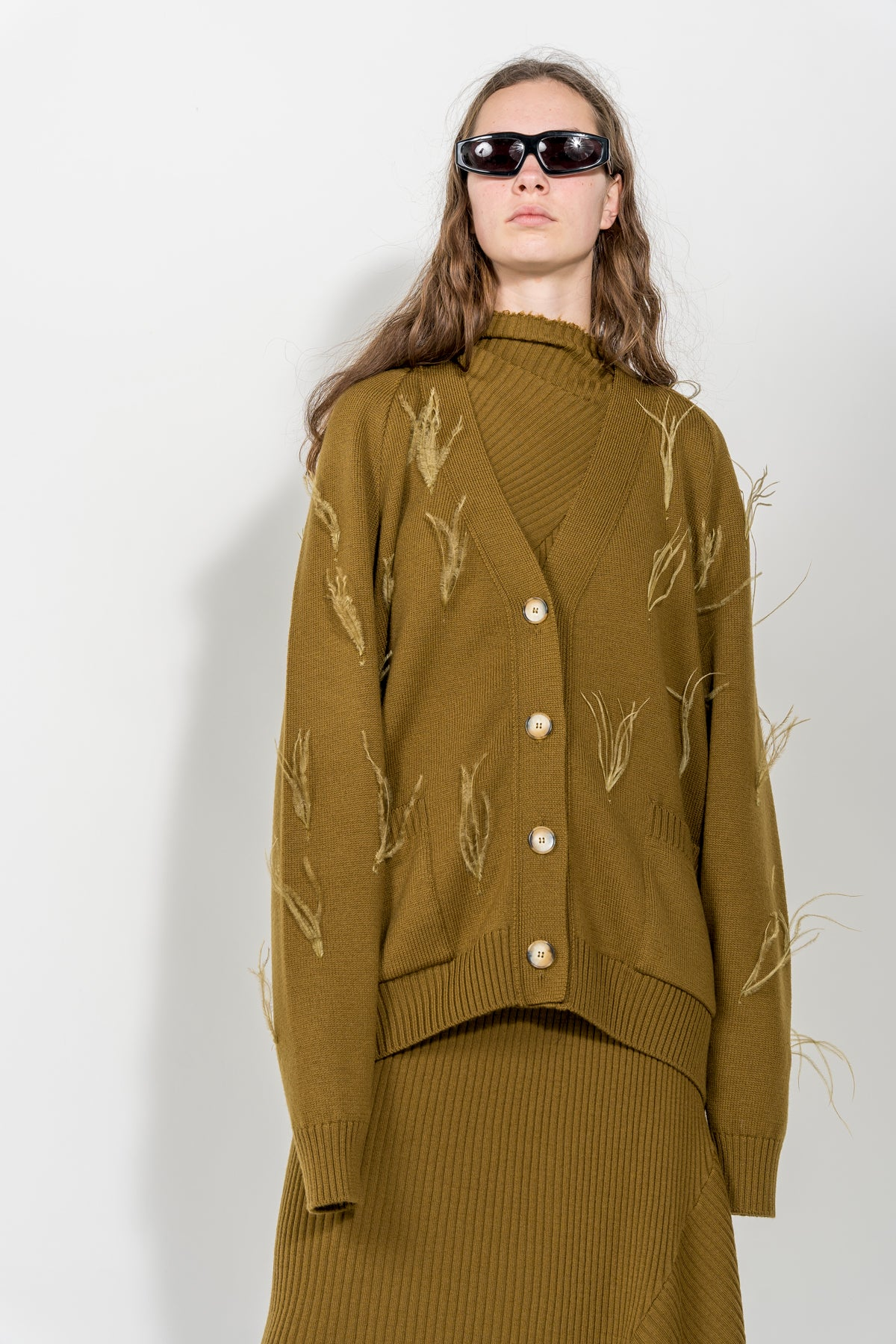 MUSTARD OVERSIZED CARDIGAN WITH FEATHERS MARQUES ALMEIDA
