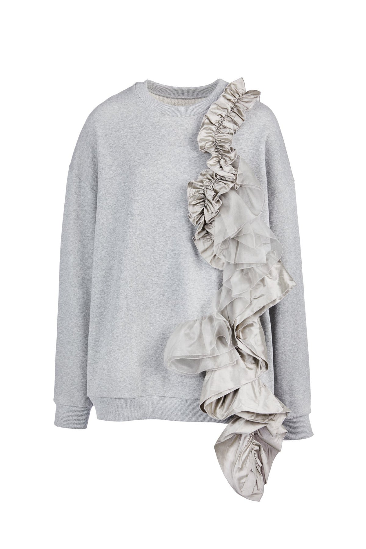 CREWNECK SWEATSHIRT WITH FRILLS