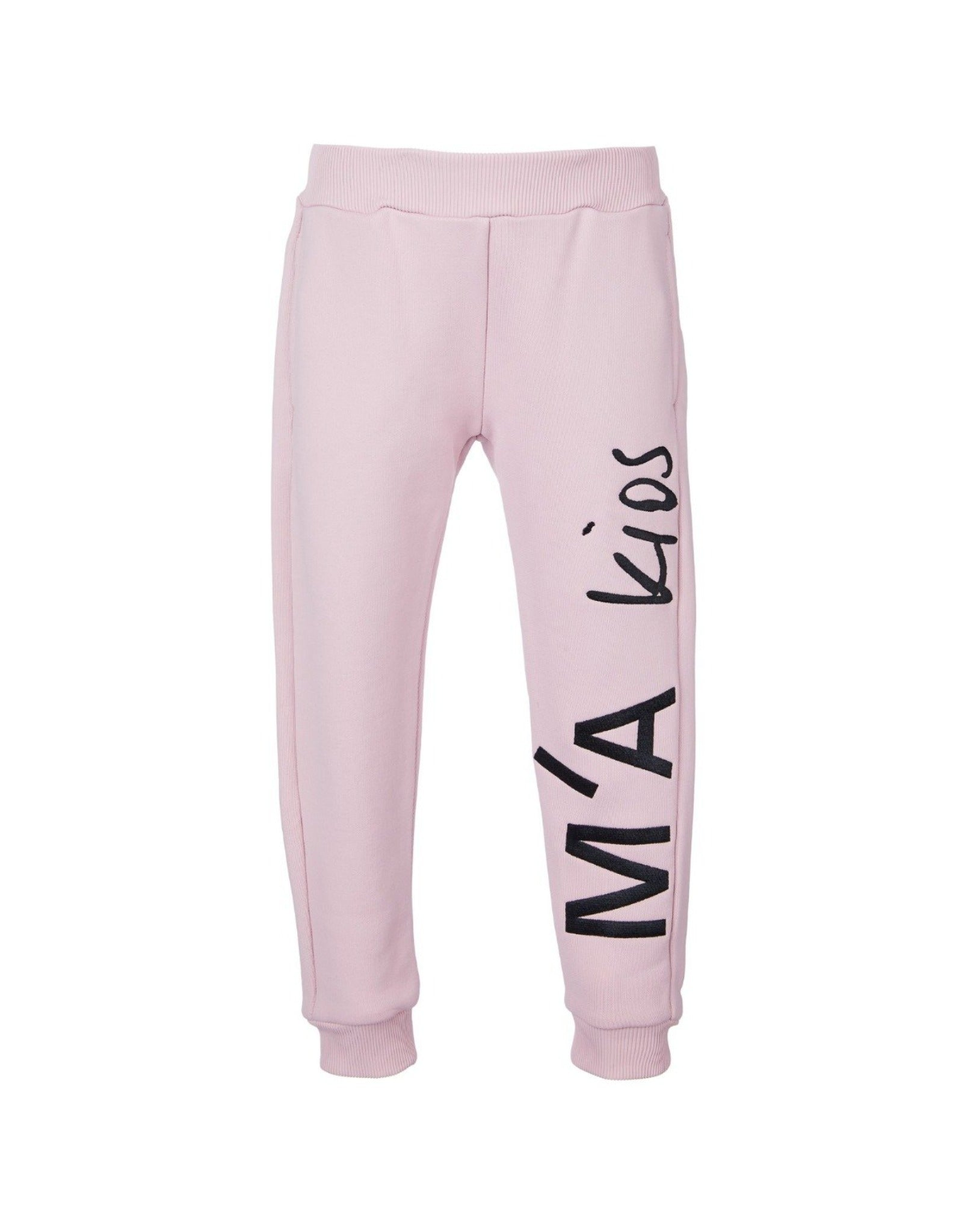 FLEECE EMBROIDERED ELASTIC CUFF TROUSERS IN PINK