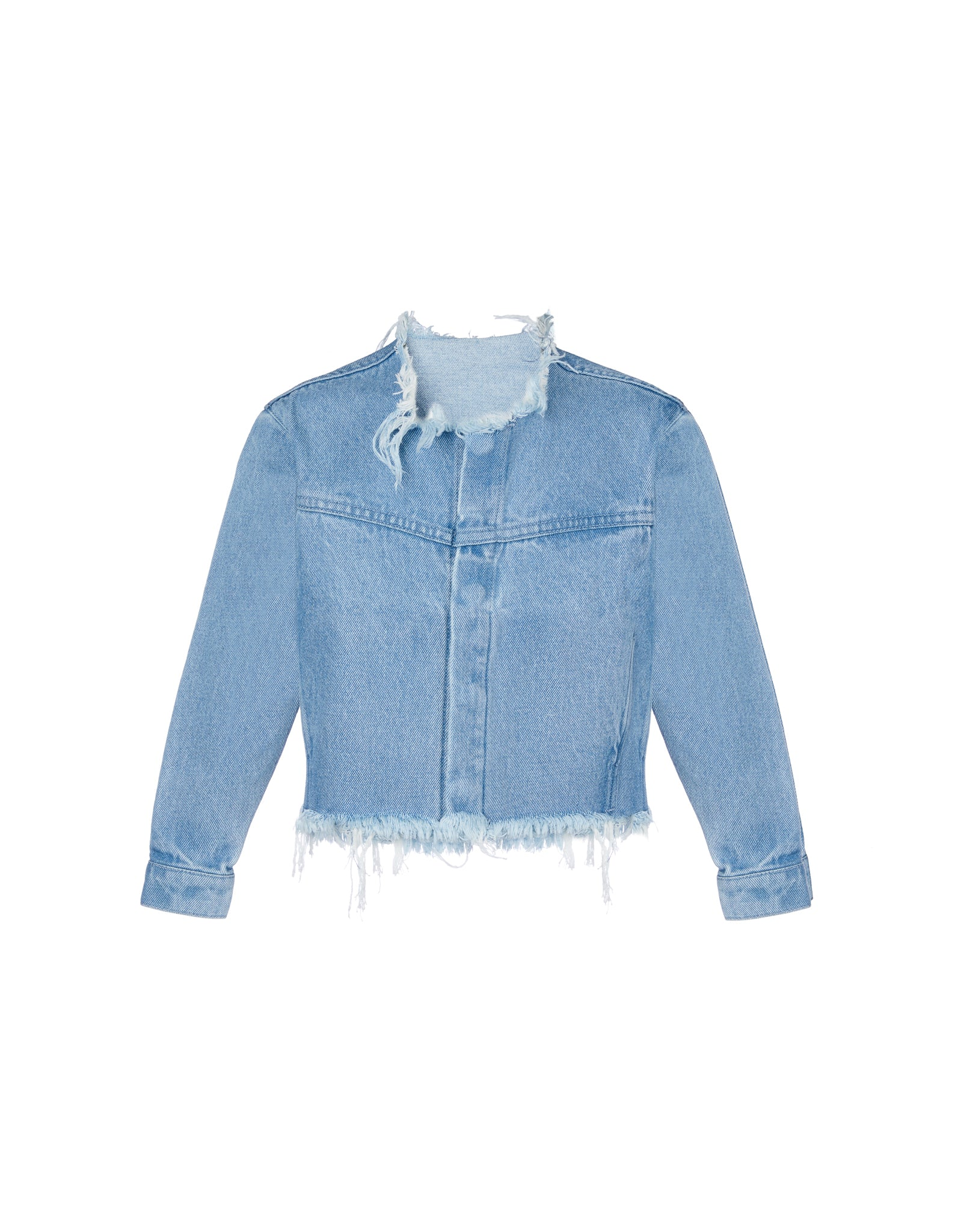 DENIM LOOSE COLLARLESS JACKET