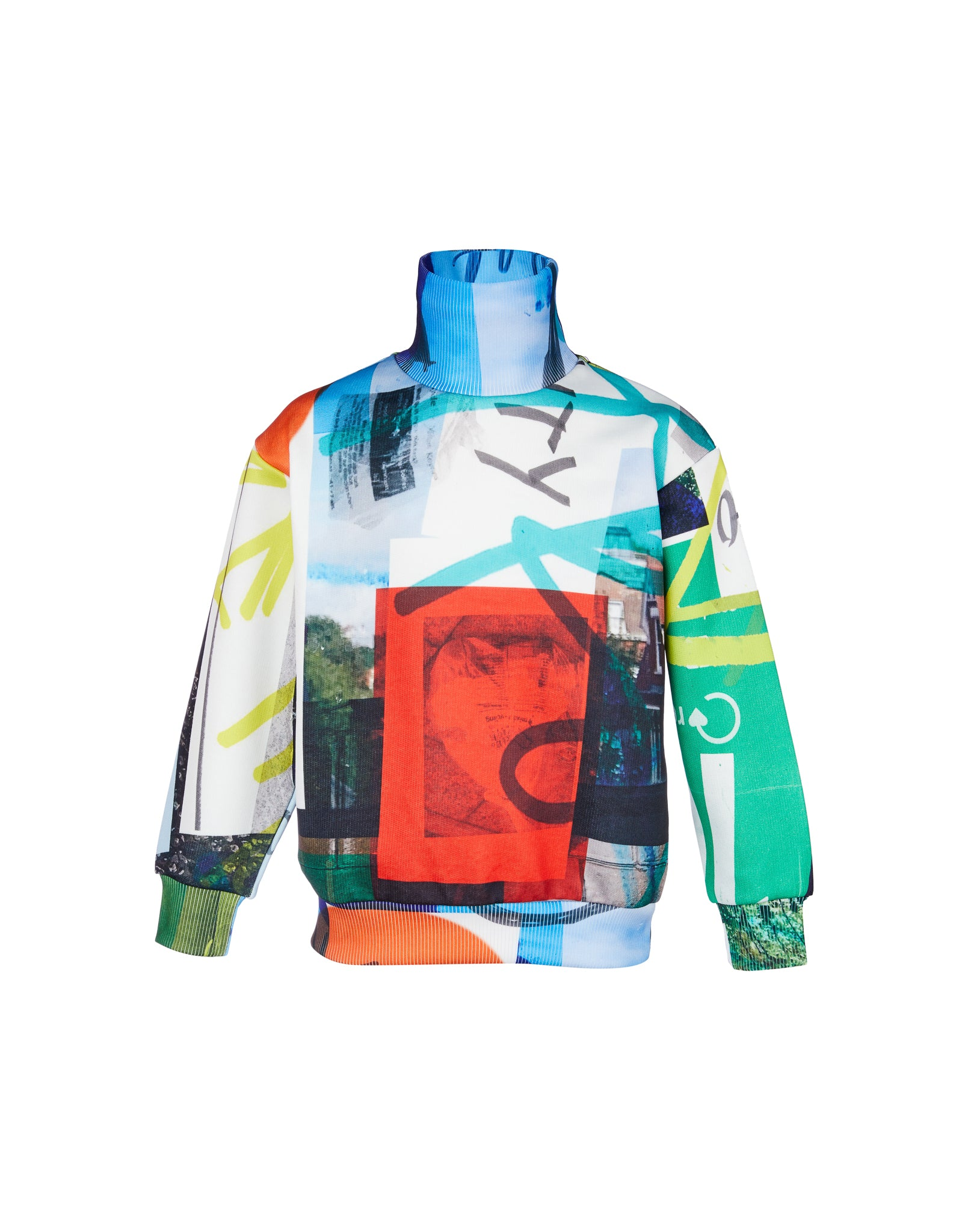 M'A KIDS FLEECE TURTLENECK IN ECO PRINT