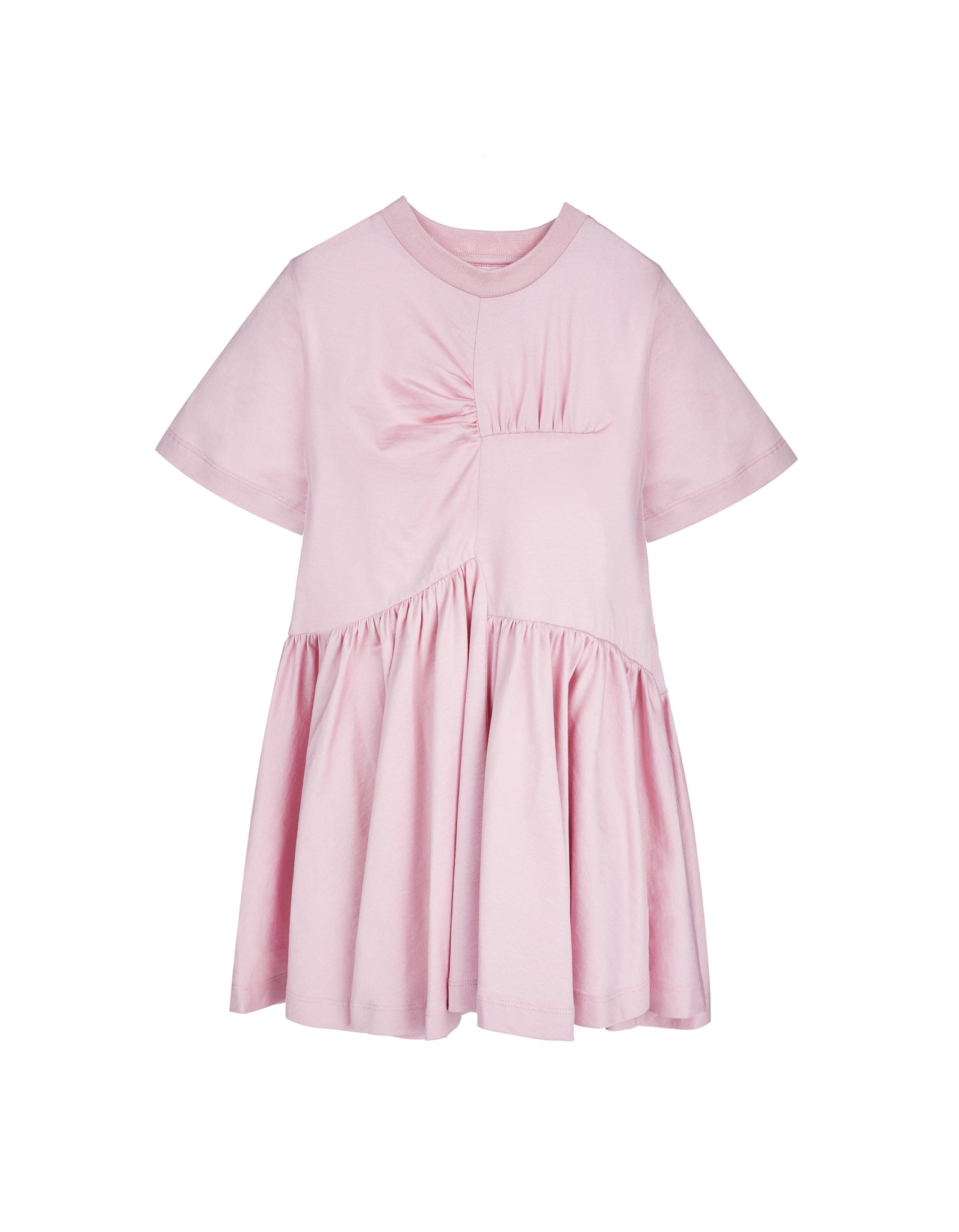 GATHERED SEAMS DRESS IN PINK