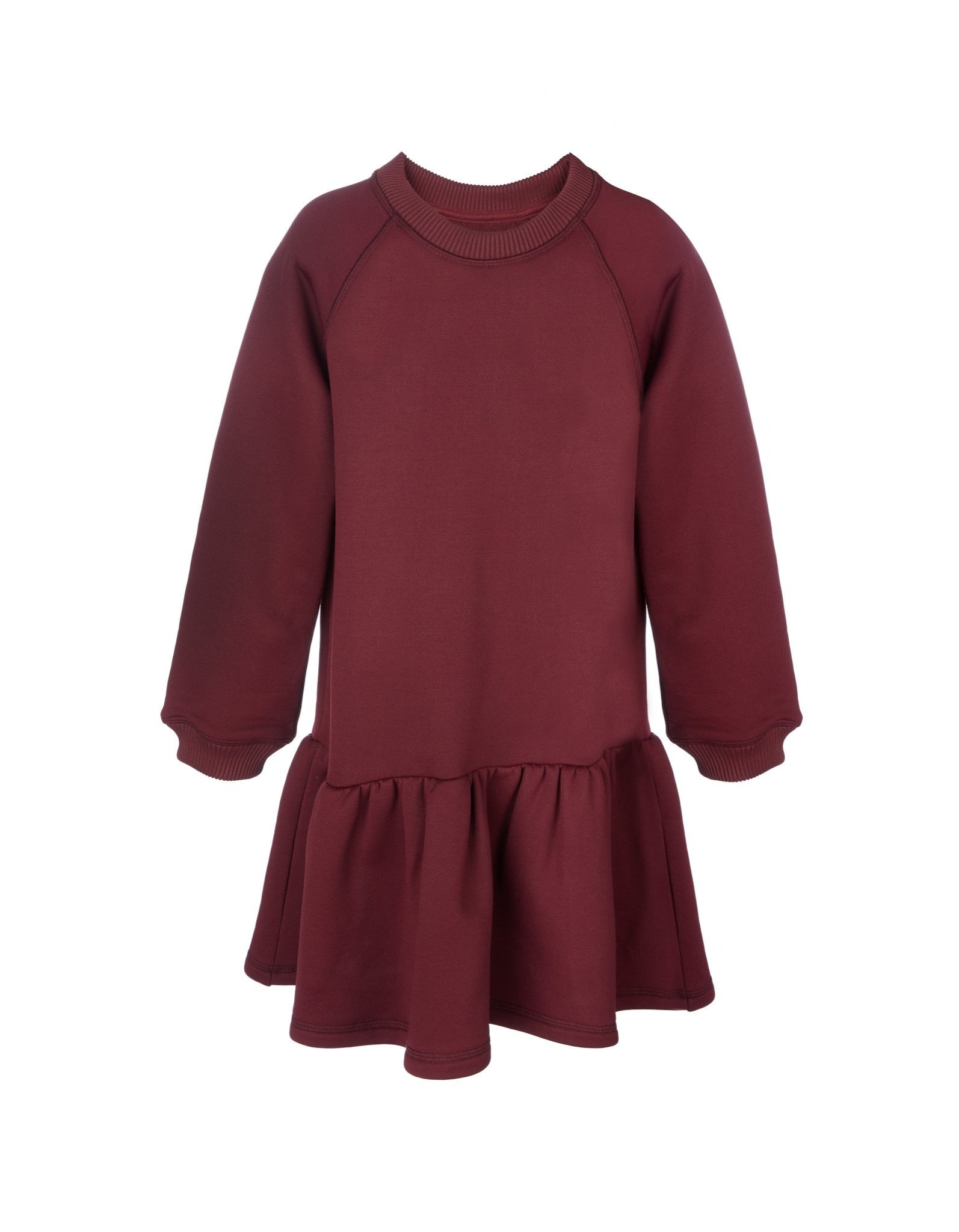 FLEECE CREW NECK GATHERED DRESS IN BURGUNDY