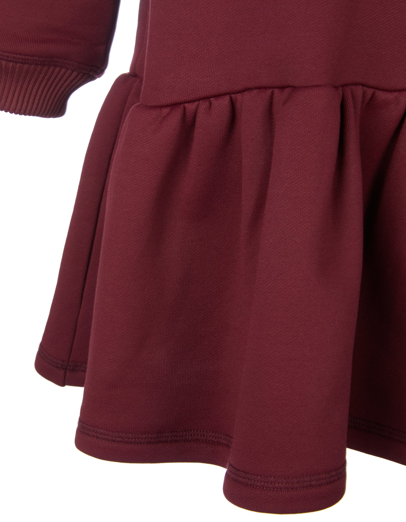 M'A KIDS CREW NECK GATHERED DRESS IN BURGUNDY