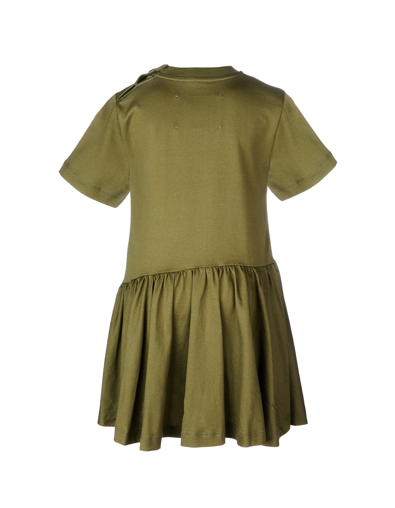 GATHERED SEAMS DRESS IN KHAKI